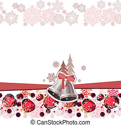 Pastel Christmas greeting card with bells