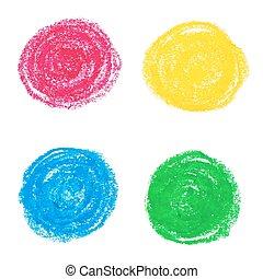 pastel, circles., olie
