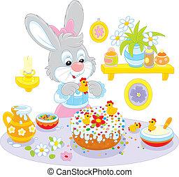 pastel, cocineros, feriado, easte, conejito