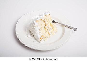 pastel, coco, rebanada, blanco, mostrador