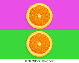 pastel, coloré, tranches, pourpre, isolé, fruit, vert, orange