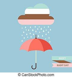 Pastel color cloud with Rain drop on umbrella