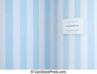 Pastel color of wallpaper and the power outlet in sweet bedroom