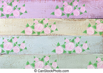 pastel color wooden background with floral pattern