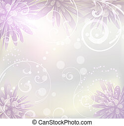 pastel coloreado, plano de fondo, con, flores púrpuras