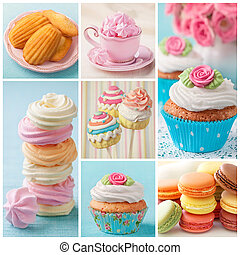 Pastel colored cupcakes and meringue collage