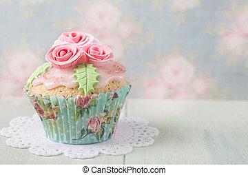 Pastel colored cupcake