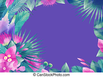 Pastel colored design with exotic leaves and flowers
