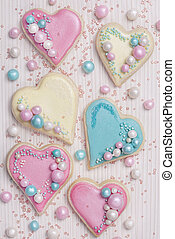 Pastel colored heart shaped cookies