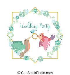 Pastel colored modern wedding party invitation with birds