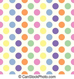 pastel colored polka dots on white background