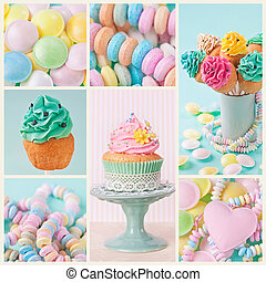 Pastel colored sweets - Collage of photos with pastel...