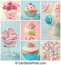 Pastel colored cupcakes and marshmallow collage