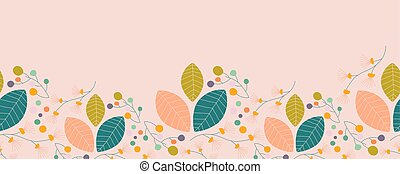 Pastel colorful leaves in a seamless border. Vector elements