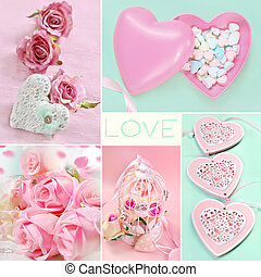 pastel colors love collage with images of hearts and roses