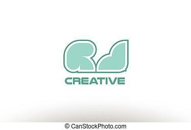 pastel, combinatie, comany, alfabet, j, joint, r, groene, brief, logo, rj, pictogram