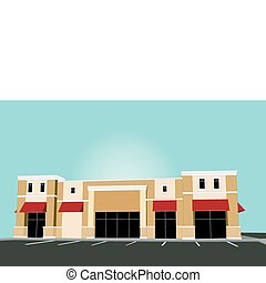 illustration of an upscale pastel strip mall building with red awnings and tinted glass