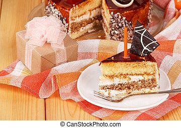 pastel, con, caja obsequio