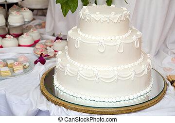 pastel, con gradas, tres, boda