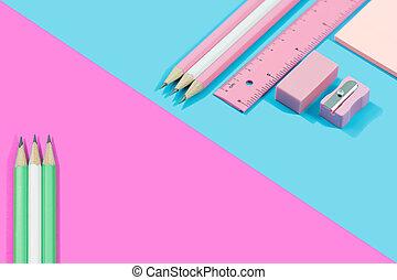 pastel, copie, tonalité, stationnaire, fond, rose, space., lay., bleu, concept, plat