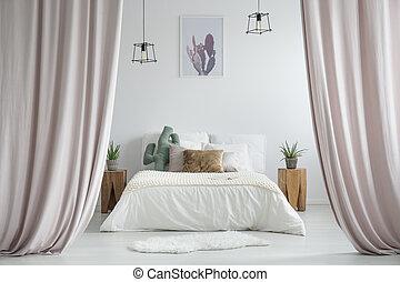 pastel, cortinas, en, rústico, dormitorio