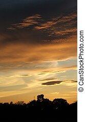 pastel, coucher soleil
