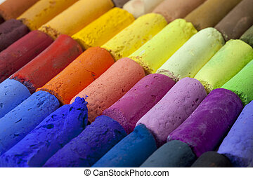 pastel crayons abstract - a macro of soft artist pastel...
