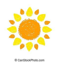 pastel crayons, geverfde, zon, hand, getrokken