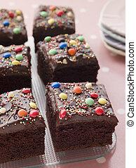 pastel, cuadrado, bandeja, chocolate