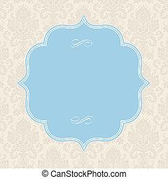 pastel, cuadrado, marco, vector, plano de fondo, florido