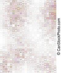 pastel, cuadrados, mosaico, ornamentos, corazones