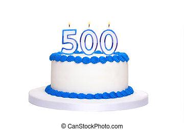 pastel, cumpleaños, 500th