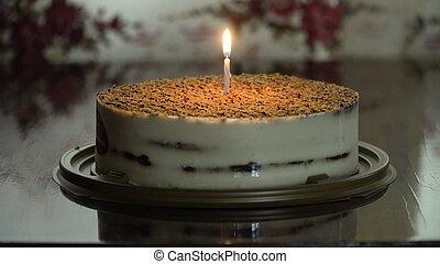 pastel, cumpleaños, candle.