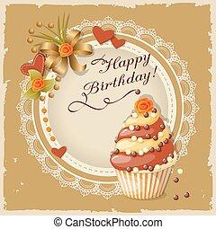 pastel, cumpleaños, tarjeta