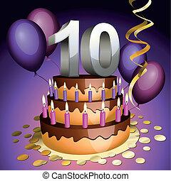 pastel, décimo, aniversario