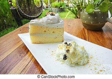 pastel de coco, blanco, placa