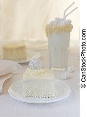 pastel de coco, delicioso, milkshake, en, un, vidrio, adornado, con, chocolate, blanco, plano de fondo