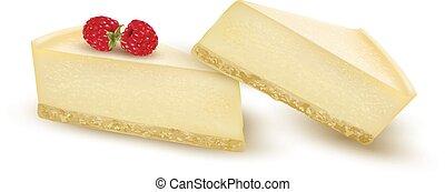 pastel de queso, rebanada, adornado, con, frambuesa,...
