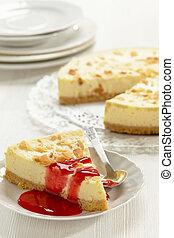 pastel de queso, rebanada