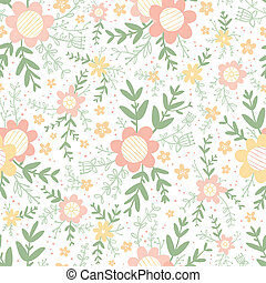 Pastel decorative floral compositions seamless pattern
