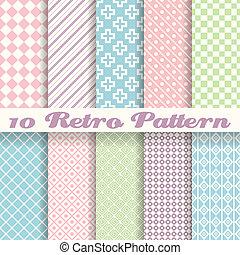 pastel, diferente, seamless, (tiling), padrões, vetorial, retro