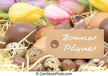 pastel, différent, p?ques, tulipes, oeufs, (bonnes,...