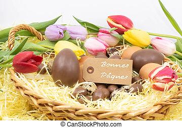 pastel, différent, p?ques, tulipes, oeufs, entouré, (bonnes,...