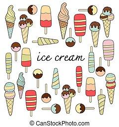 pastel, doodle, ijs, kleuren, variatie, room
