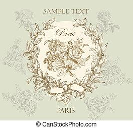 pastel, dowcip, róża, etykieta, szlachecki, wektor