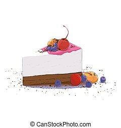 pastel, dulce, pedazo