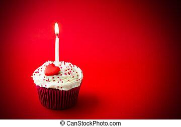 pastel, dulce, poco, cumpleaños