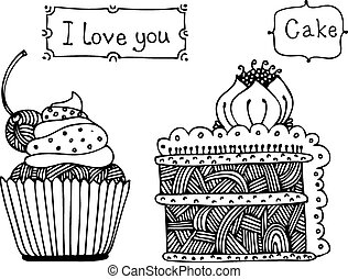 pastel, dulce, vector, conjunto
