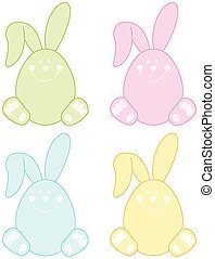 Pastel Easter Bunny Label