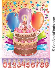 pastel, edad, cumpleaños, número